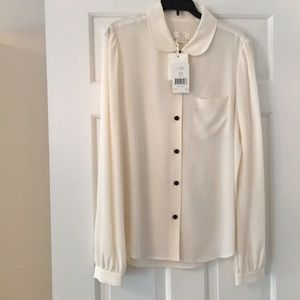 NWT Beautiful Kate Spade Silk Blouse, Ivory, 4